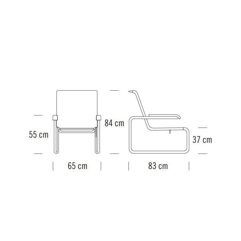 afmetingen S 35 L Stoel Pure Materials - Thonet -  - Fauteuils - Furniture by Designcollectors