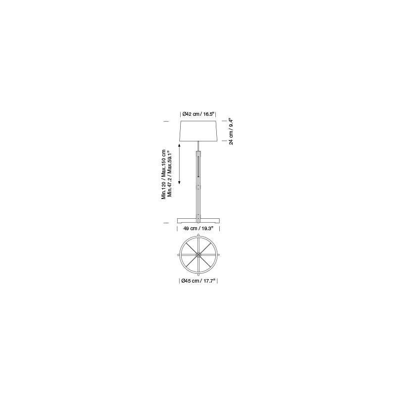 dimensions FAD Floor lamp - Santa & Cole - Miguel Milá - Lighting - Furniture by Designcollectors
