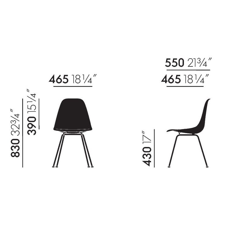 dimensions Eames Plastic Chair DSX without upholstery - new colours - vitra - Charles & Ray Eames - Home - Furniture by Designcollectors