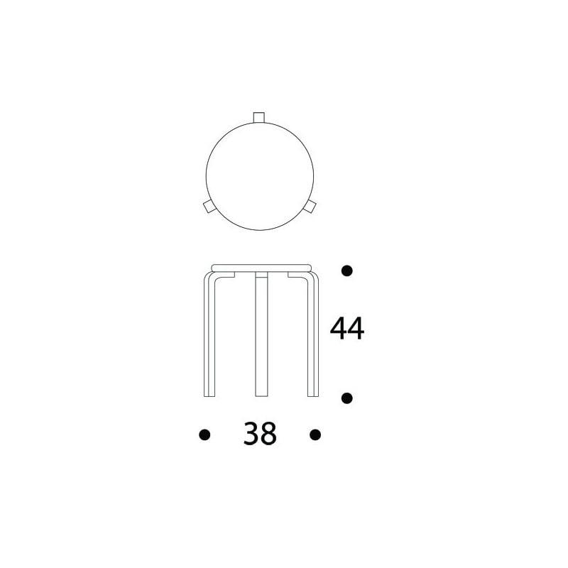 afmetingen Kruk 60 / E60: Speciale editie - Set van 3 kleuren, samengesteld door Sofie D'Hoore - artek - Alvar Aalto - Zitbanken en krukjes - Furniture by Designcollectors