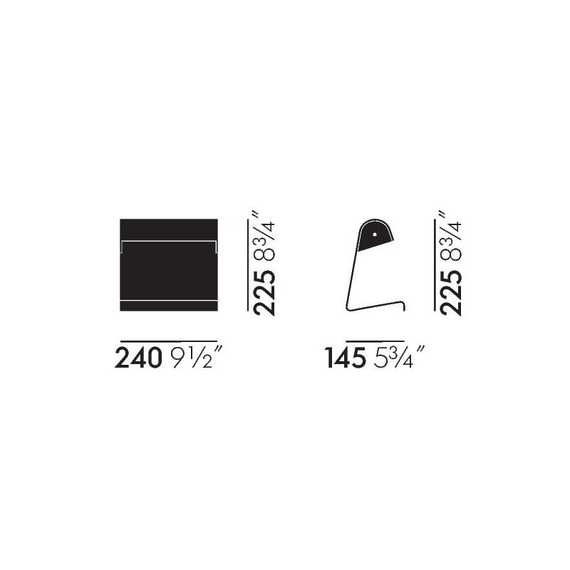 dimensions Lampe de Bureau - Japanese Red - vitra - Jean Prouvé - Lighting - Furniture by Designcollectors