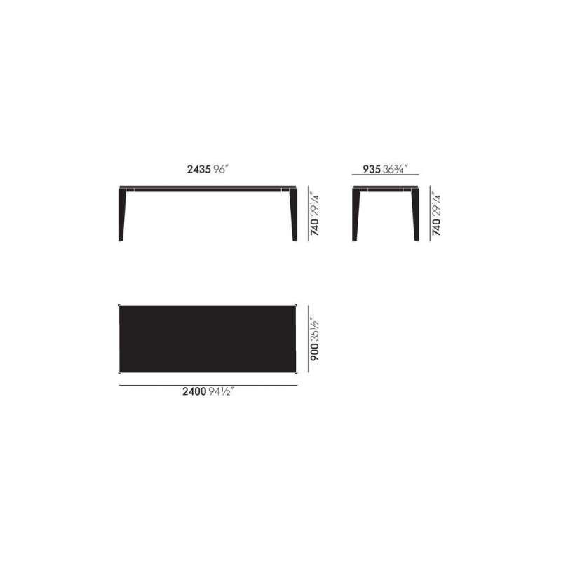 afmetingen Table Flavigny - vitra - Jean Prouvé - Eettafels - Furniture by Designcollectors