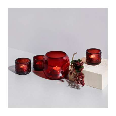 Kastehelmi Votive Bougeoir Cranberry - Iittala - Oiva Toikka - Outside Accessories - Furniture by Designcollectors