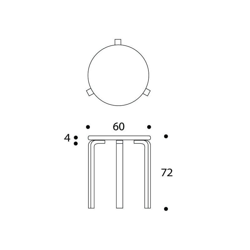dimensions 90C Table - artek - Alvar Aalto - Home - Furniture by Designcollectors
