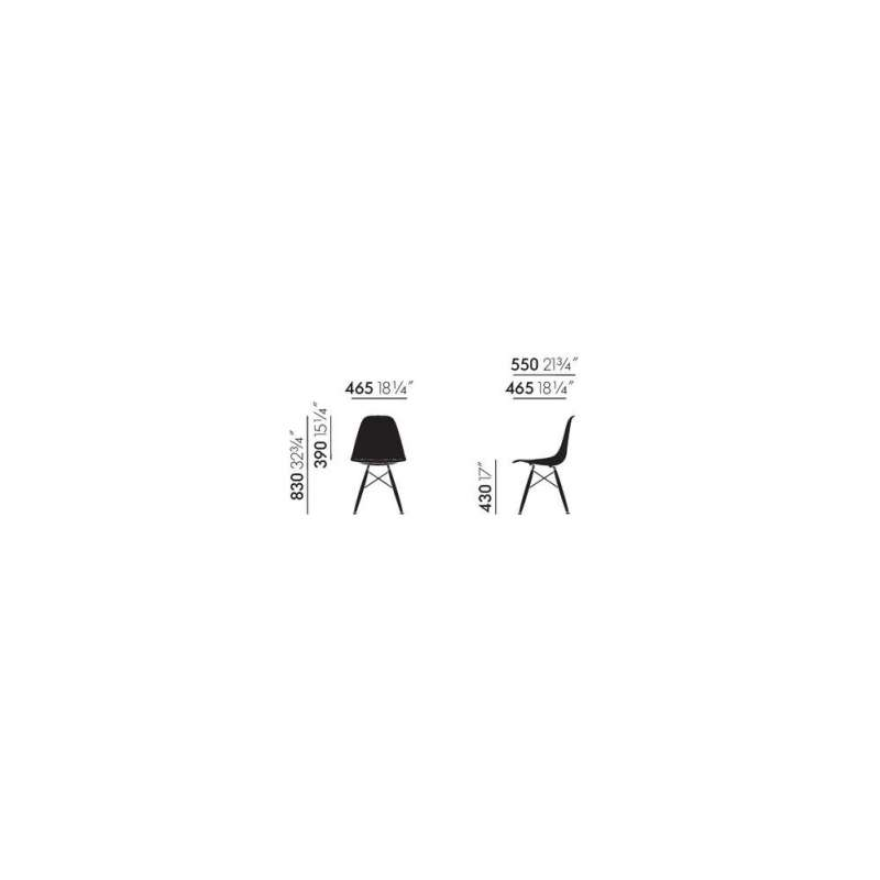 dimensions Eames DSW without upholstery (original & new height) - vitra - Charles & Ray Eames - Accueil - Furniture by Designcollectors