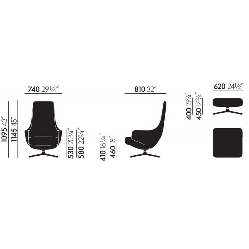 dimensions Repos & Ottoman - vitra - Antonio Citterio - Chairs - Furniture by Designcollectors