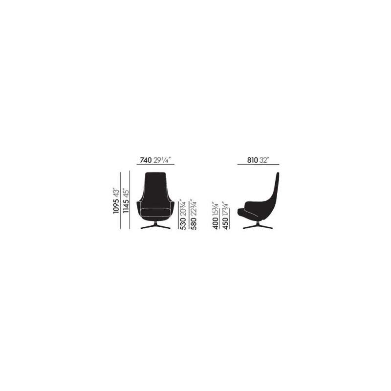 dimensions Repos & Panchina (750 mm) - vitra -  - Arm & Lounge Chairs - Furniture by Designcollectors