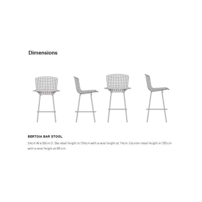 dimensions Bertoia Plastic Bar Stool - Knoll - Harry Bertoia - Chairs - Furniture by Designcollectors