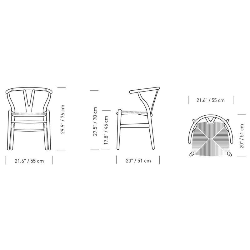 dimensions CH24 Wishbone Chair - Carl Hansen & Son - Hans Wegner - Home - Furniture by Designcollectors