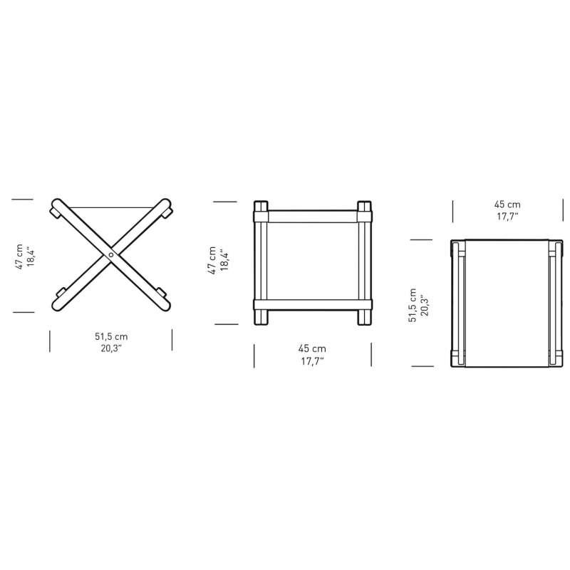 dimensions BM5768 Footstool - Carl Hansen & Son - Børge Mogensen - Home - Furniture by Designcollectors