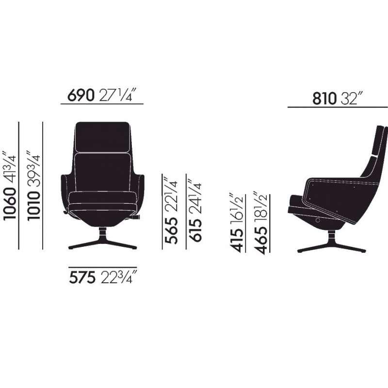 dimensions Grand Relax & Ottoman - vitra - Antonio Citterio - Accueil - Furniture by Designcollectors