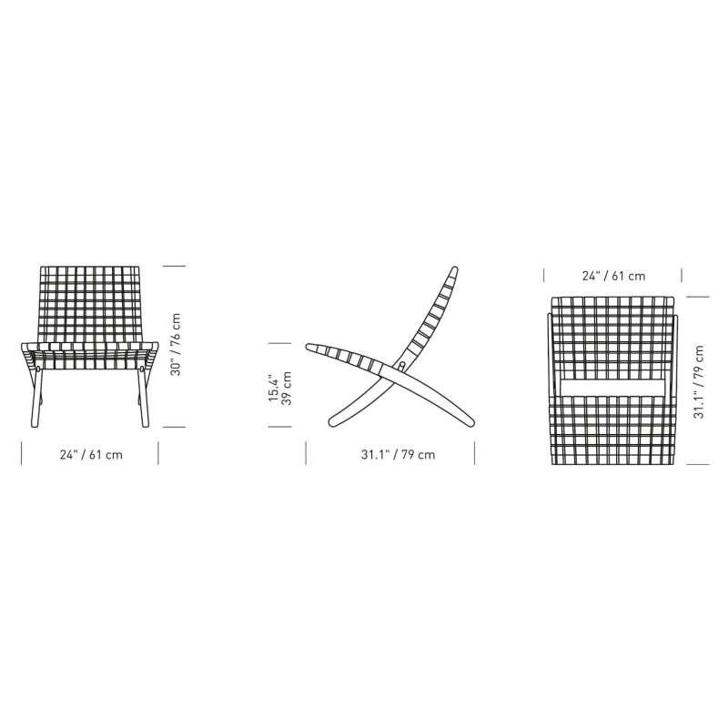 dimensions MG501 Cuba Lounge chair indoor - Carl Hansen & Son - Morten Gøttler - Accueil - Furniture by Designcollectors