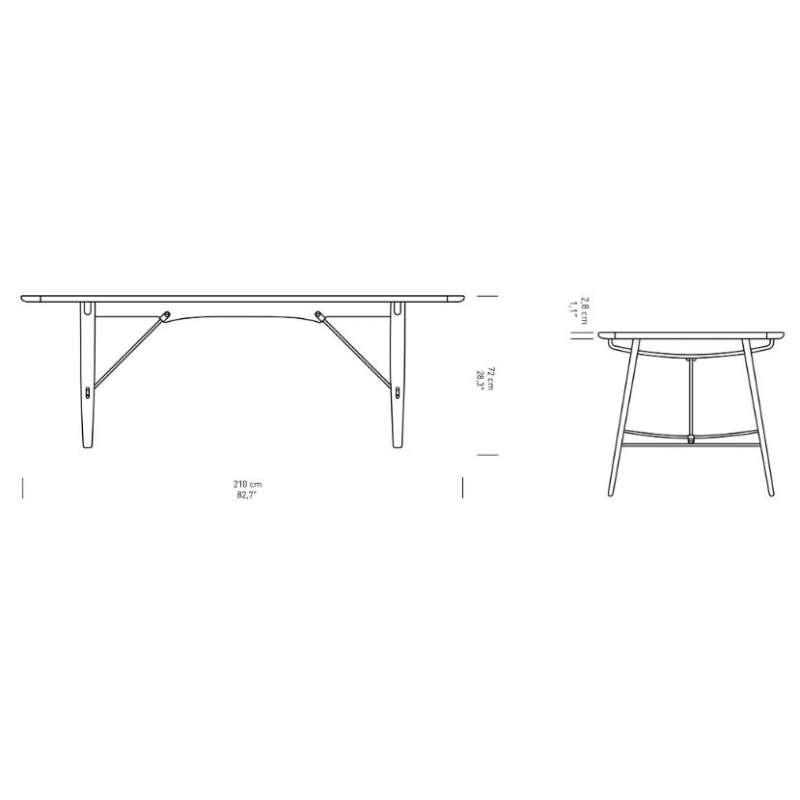 afmetingen BM1160 Hunting Table - Carl Hansen & Son - Børge Mogensen - Home - Furniture by Designcollectors