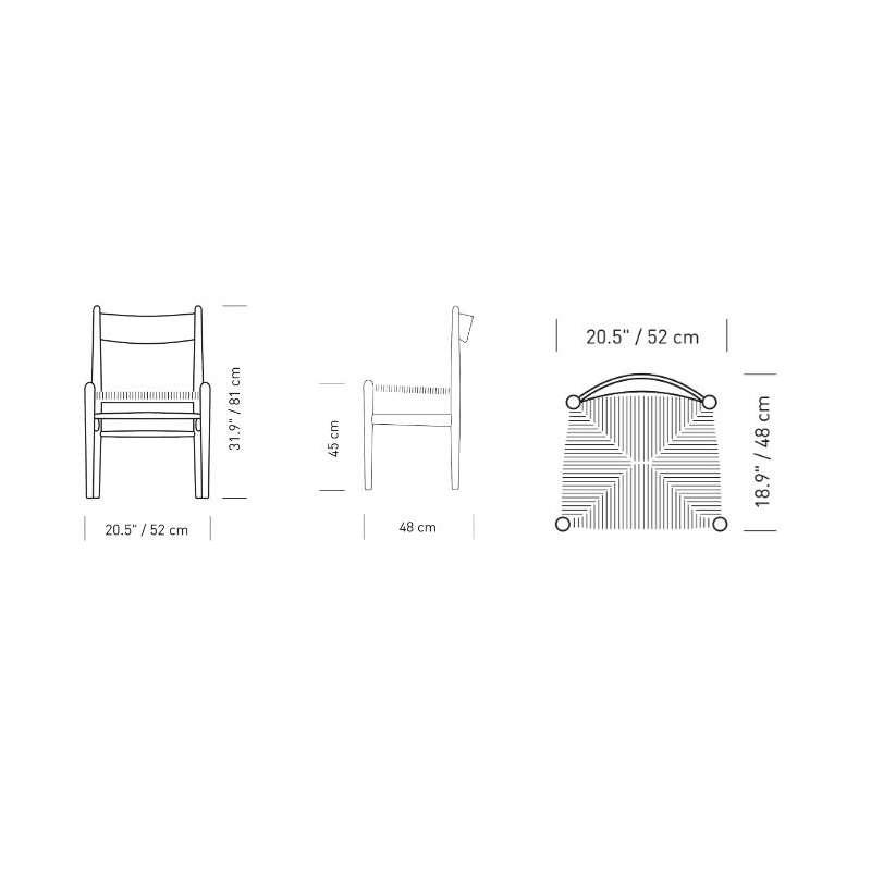 dimensions CH36 Chair - Carl Hansen & Son - Hans Wegner - Home - Furniture by Designcollectors