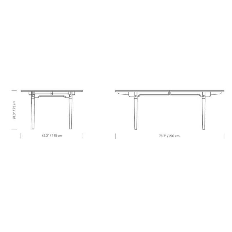 dimensions CH338 Dining table (prepared for 4 leaves) - Carl Hansen & Son - Hans Wegner - Home - Furniture by Designcollectors