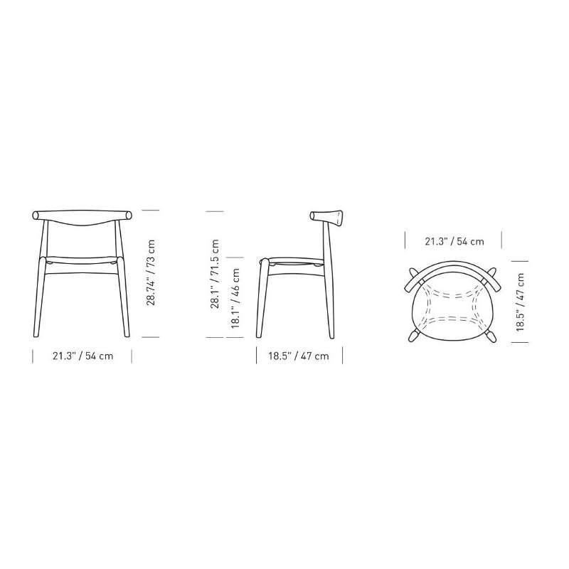 dimensions CH20 Elbow Chair - Carl Hansen & Son - Hans Wegner - Home - Furniture by Designcollectors