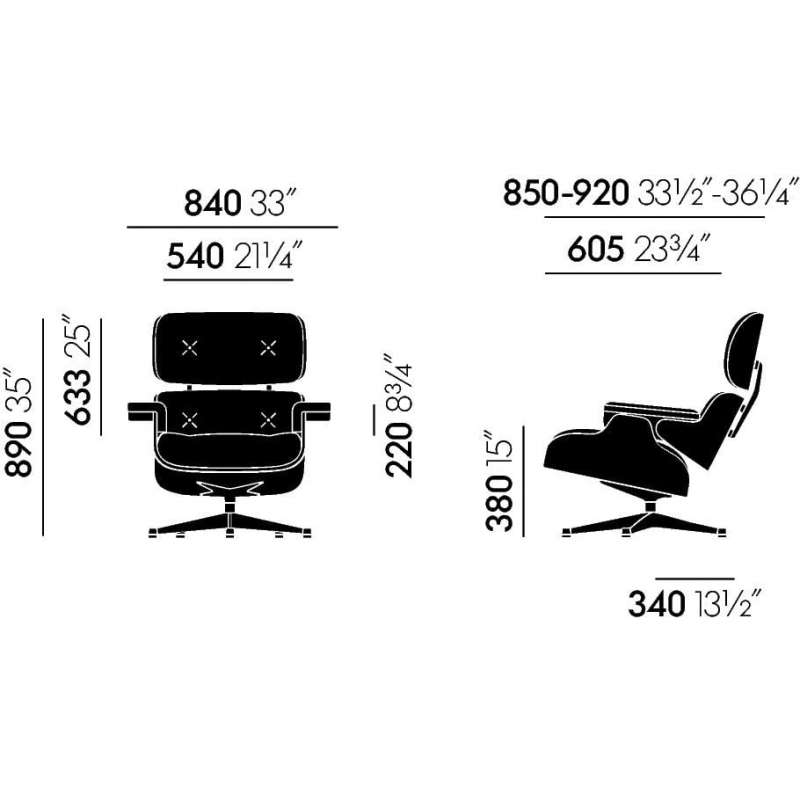 afmetingen Lounge Chair & Ottoman Premium Leder F - vitra - Charles & Ray Eames - Home - Furniture by Designcollectors