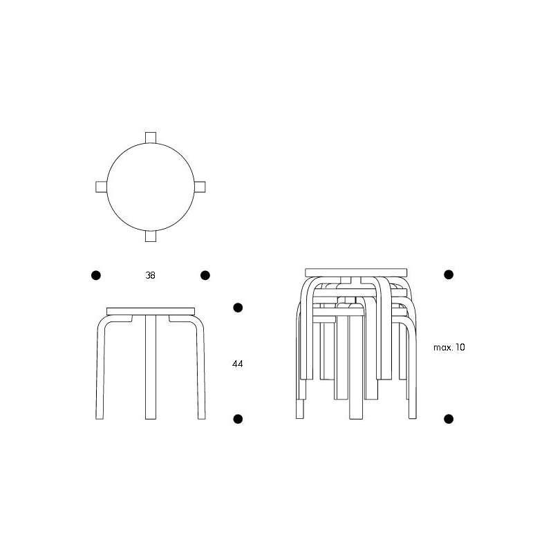 afmetingen Stool E60 Kruk 4 poten  - zit in tinkleurig linoleum - artek - Alvar Aalto - Home - Furniture by Designcollectors