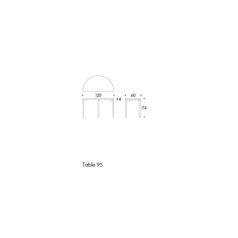 dimensions 95 Aalto table half-round - artek - Alvar Aalto - Home - Furniture by Designcollectors
