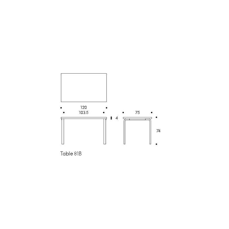 afmetingen Table 81B Tafel - artek - Alvar Aalto - Home - Furniture by Designcollectors