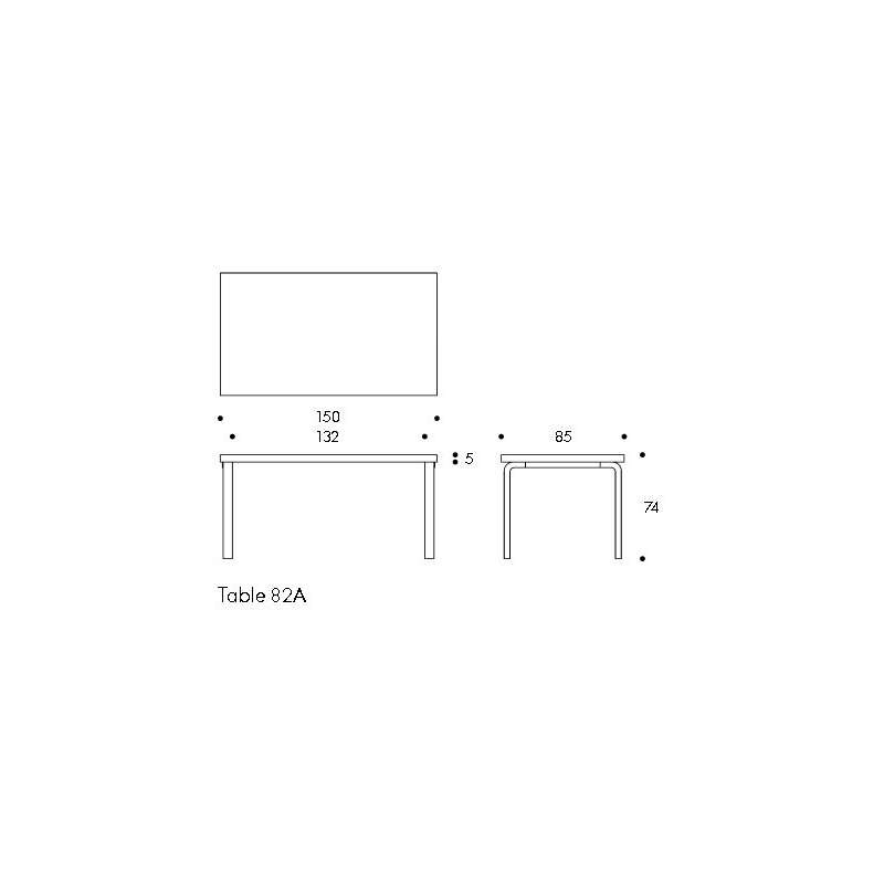 dimensions 82A Table - artek - Alvar Aalto - Home - Furniture by Designcollectors