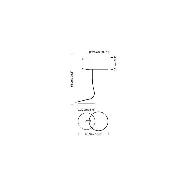 dimensions TMD Table Lamp - Santa & Cole - Miguel Milá - Accueil - Furniture by Designcollectors