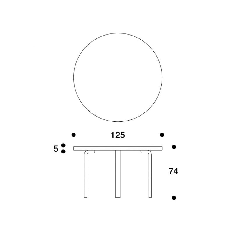 dimensions 91 Table Smokey Blue - artek - Alvar Aalto - Home - Furniture by Designcollectors
