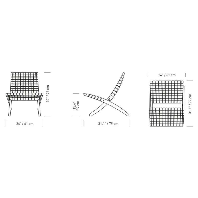 afmetingen MG501 Cuba Chair Stoel Outdoor - onbehandelde teak - Carl Hansen & Son - Morten Gøttler - Home - Furniture by Designcollectors