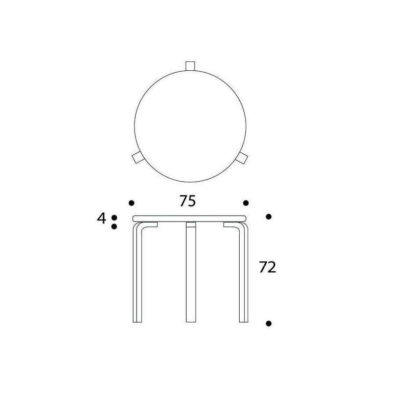dimensions 90B Table - artek - Alvar Aalto - Home - Furniture by Designcollectors