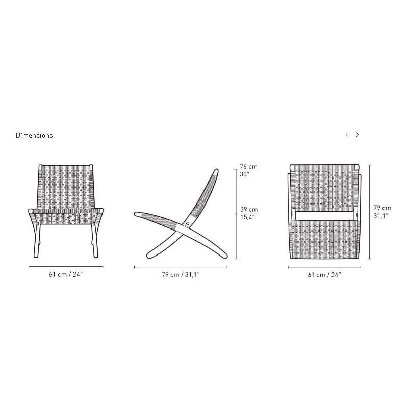 dimensions MG501 Cuba Lounge chair indoor - paper cord - Carl Hansen & Son - Morten Gøttler - Home - Furniture by Designcollectors