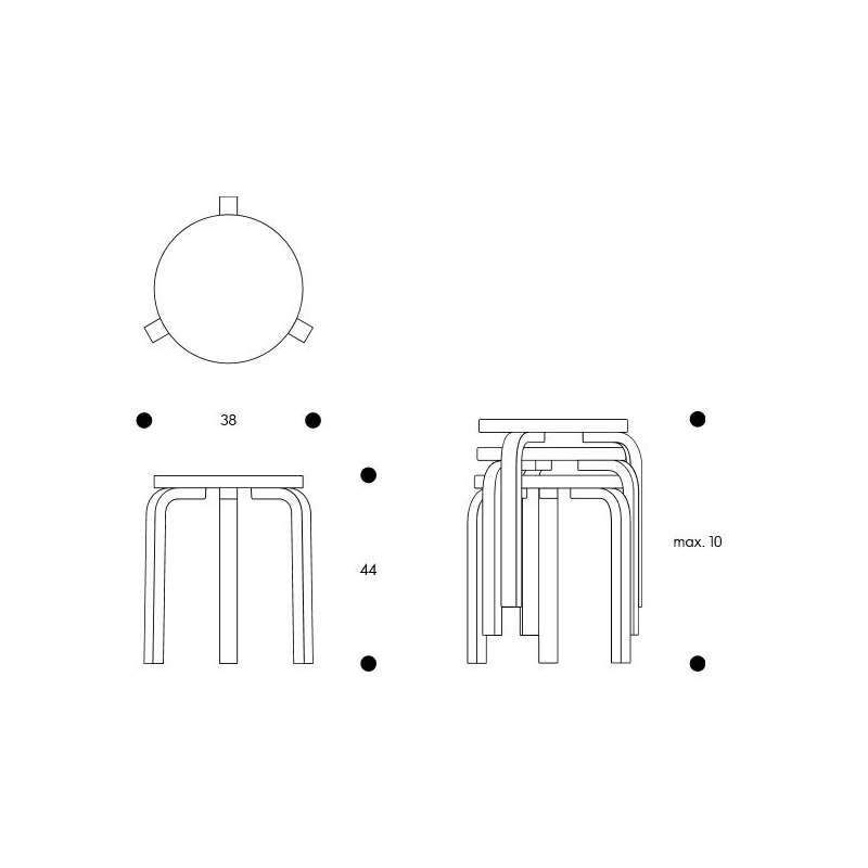 dimensions 60 Stool 3 legs walnut stained - seat olive linoleum - artek - Alvar Aalto - Accueil - Furniture by Designcollectors