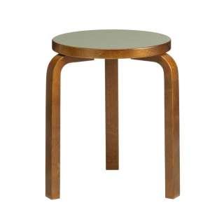 60 Stool 3 legs walnut stained - seat linoleum olive