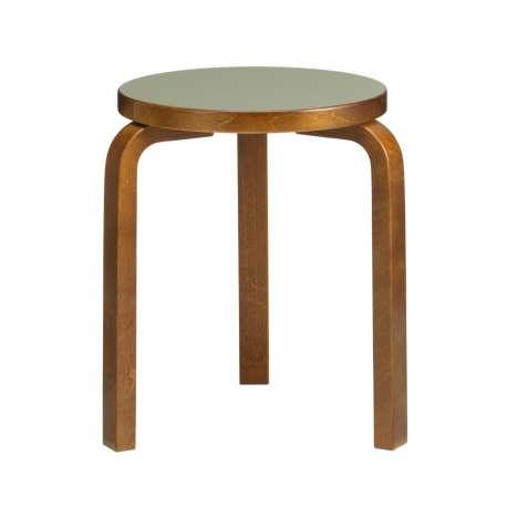 60 Stool 3 legs walnut stained - seat olive linoleum - Artek - Alvar Aalto - Furniture by Designcollectors
