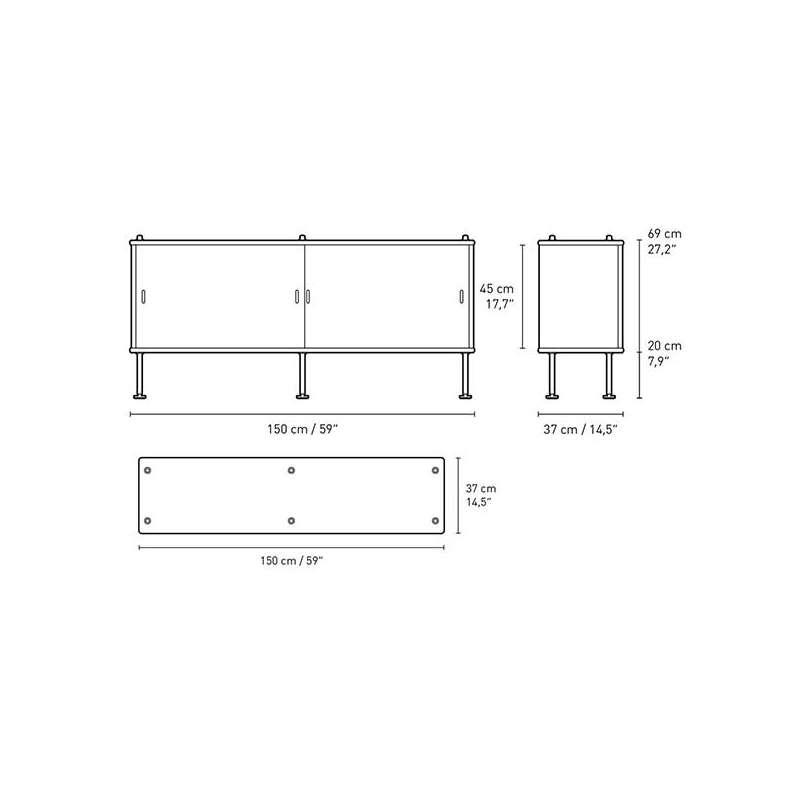 dimensions BM0253 Cabinet - Carl Hansen & Son - Børge Mogensen - Storage & Shelves - Furniture by Designcollectors