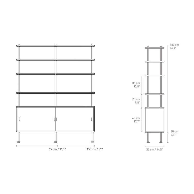 afmetingen BM0253 Cabinet with 4 Shelves - Carl Hansen & Son - Børge Mogensen - Opbergen - Furniture by Designcollectors