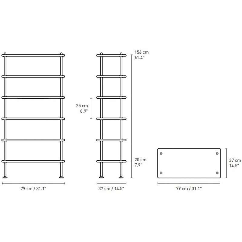 dimensions BM0253 Shelves - Carl Hansen & Son - Børge Mogensen - Storage & Shelves - Furniture by Designcollectors