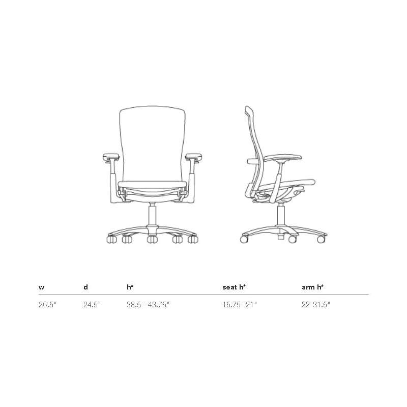 afmetingen Ergonomic Chair - Life - Knoll -  - Home - Furniture by Designcollectors