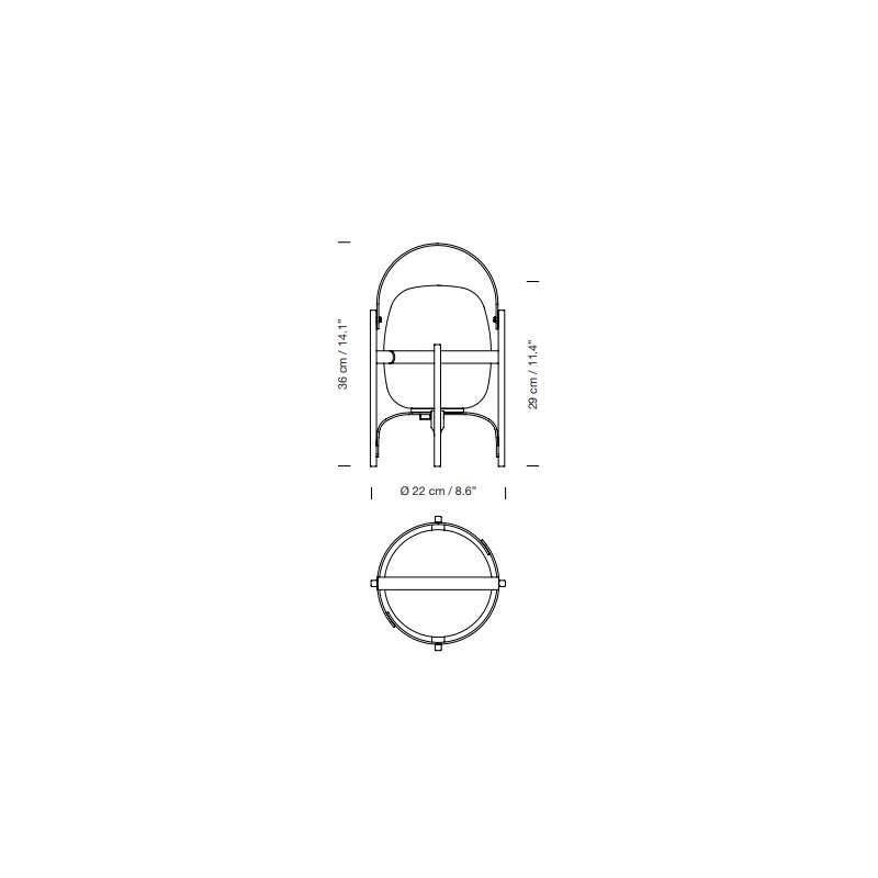 afmetingen Cestita Alubat Olive Green - Santa & Cole - Miguel Milá - Home - Furniture by Designcollectors