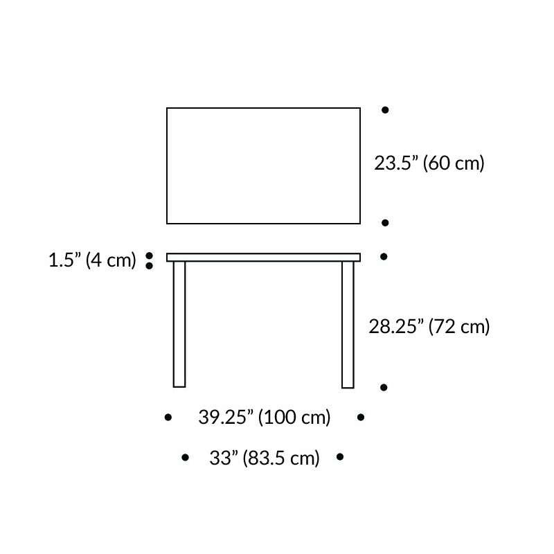 dimensions Table 80B Table - artek - Alvar Aalto - Tables - Furniture by Designcollectors