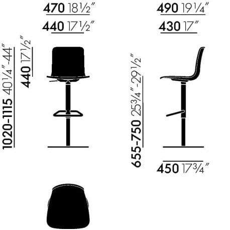 dimensions HAL Barstool - vitra - Jasper Morrison - Barstools - Furniture by Designcollectors