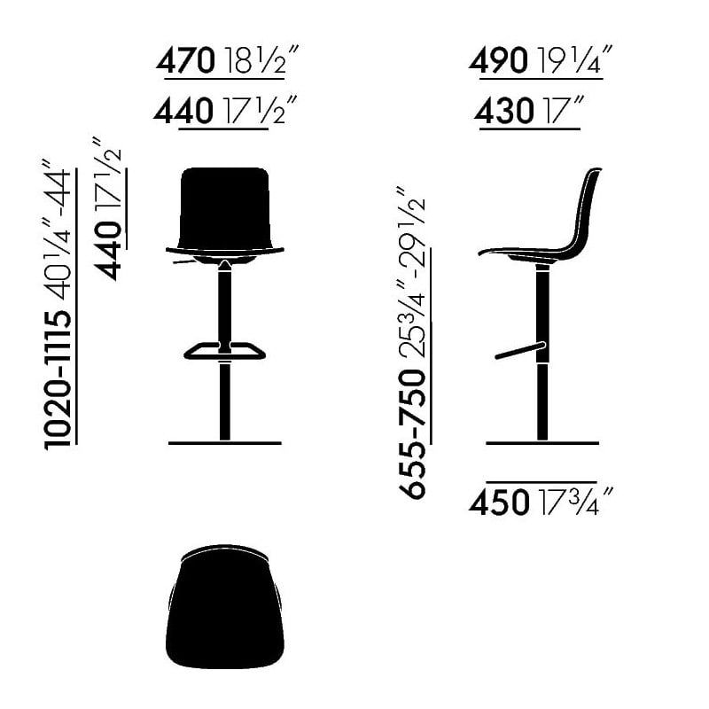 dimensions HAL Barstool - vitra - Jasper Morrison -  - Furniture by Designcollectors