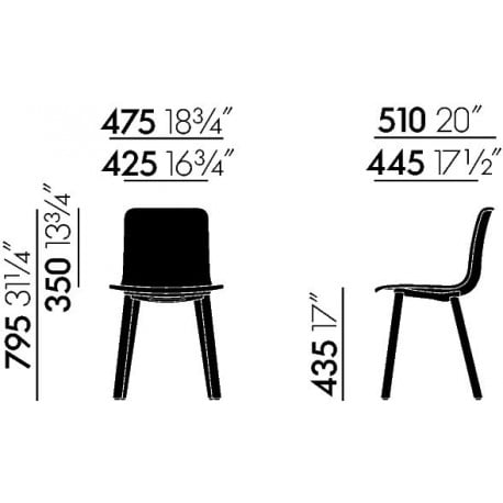 dimensions HAL Wood - vitra - Jasper Morrison - Chairs - Furniture by Designcollectors