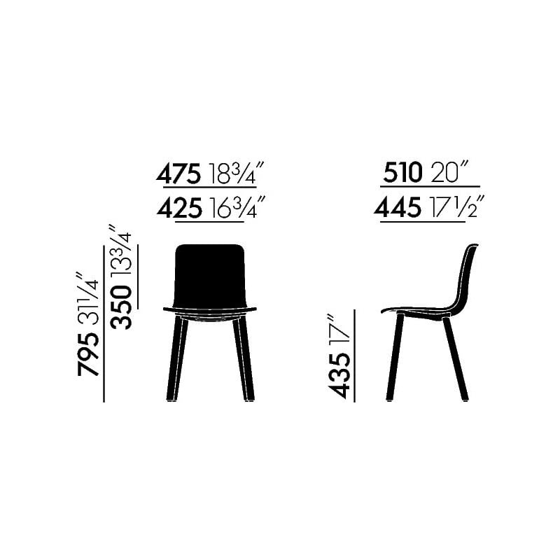 dimensions HAL Wood Chair - vitra - Jasper Morrison - Home - Furniture by Designcollectors