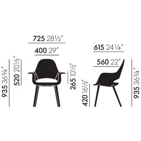 dimensions Organic Conference Chair - vitra - Charles & Ray Eames - Home - Furniture by Designcollectors