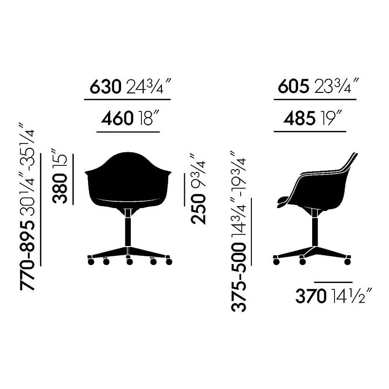 dimensions Eames Plastic Armchair PACC - vitra - Charles & Ray Eames - Home - Furniture by Designcollectors