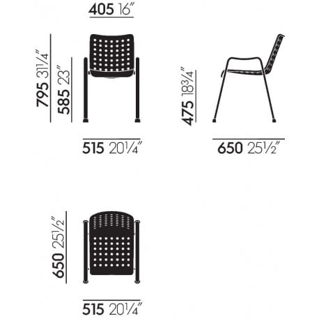 dimensions Landi Chair - vitra - Hans Coray - Home - Furniture by Designcollectors