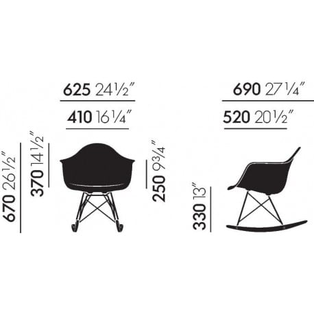 dimensions Eames Plastic Armchair RAR - vitra - Charles & Ray Eames - Arm & Lounge Chairs - Furniture by Designcollectors