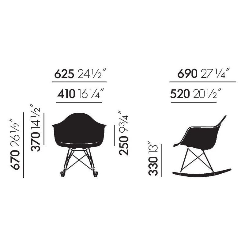 dimensions Eames Plastic Armchair RAR: old colours - vitra - Charles & Ray Eames - Home - Furniture by Designcollectors