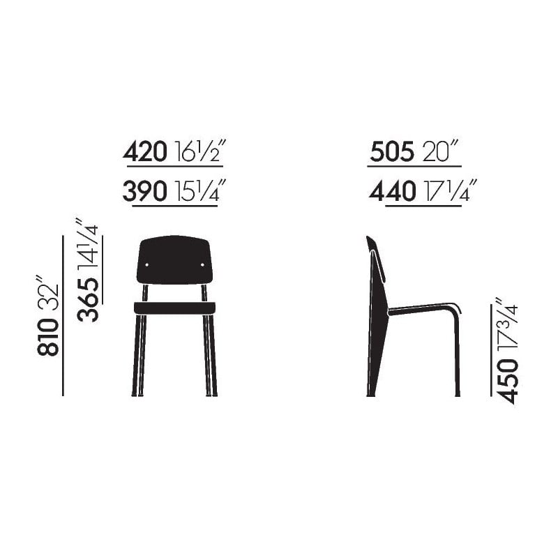 dimensions Standard SP Chair - vitra - Jean Prouvé - Chairs - Furniture by Designcollectors