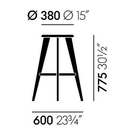 dimensions Tabouret Haut - vitra - Jean Prouvé - Home - Furniture by Designcollectors